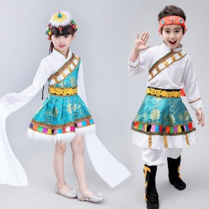 Kids boys girls mongolian minority chinese folk dance costumes tibet stage performance robes
