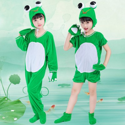 Kids Carton Frog drama Cosplay jumpsuits for boys girls Children Stage Show Clothes costumes Students Stage Play Performance outfits