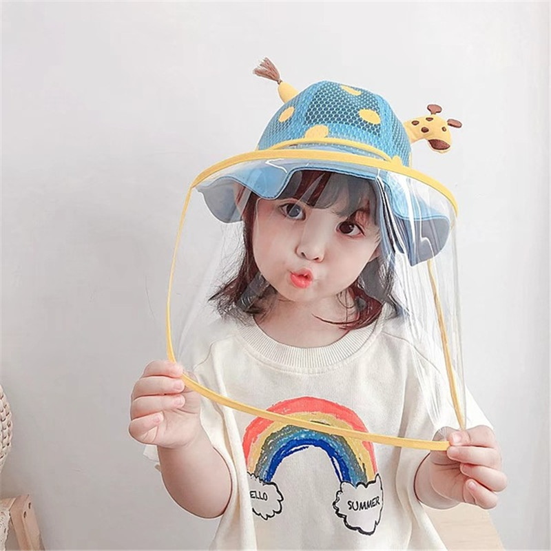 Kids cartoon face shield fisherman's cap for baby outdoor dust virus proof protective cap for children