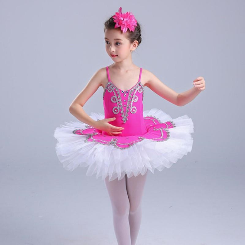 Kids Girl Pro Ballet Platter Tutu Skirt Dance Dress PINK BLUE WHITE Ballet Dress