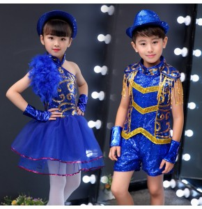 Kids children boys girls royal blue sequin jazz dance hiphop street dance outfits school competition chorus stage performance costumes
