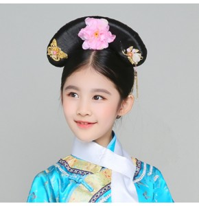 Kids children Chinese folk ancient wigs stage performance drama anime opera drama cosplay wig headdress