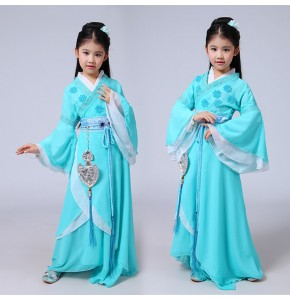 Kids children Chinese folk dance dresses girls fairy hanfu princess ancient classical beauty performance cosplay robe costumes