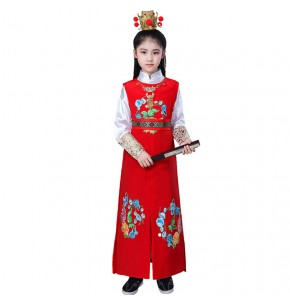 Kids children chinese Peking opera stage performance costumes for girls boys China traditional princess drama baoyu cosplay dresses