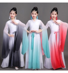 Kids children chinese water sleeves hanfu film anime drama cosplay fairy dresses classical traditional yangko fan umbrella dance dress