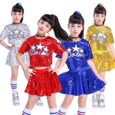 Kids children modern jazz dance costumes paillette red blue silver street cheerleaders hiphop dance studio school competition performance dresses