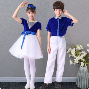 Kids children white with blue jazz dance costumes modern dance sequin jazz dance costumes school competition chorus stage performance outfits costumes