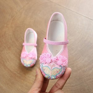 Kids chinese folk dance butterfly embroied shoes hanfu princess fairy drama clothing soft soles embroied shoes