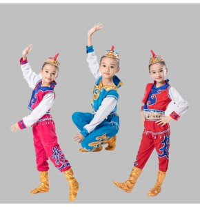 Kids chinese folk dance costumes ancient traditional Mongolian dance cosplay stage performance dancing tops and pants