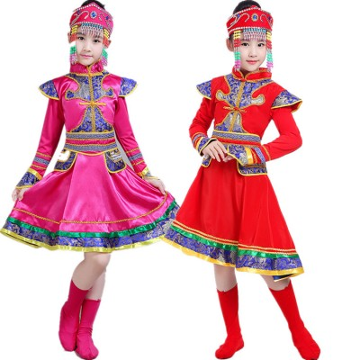 Kids chinese folk dance costumes ancient traditional Mongolian grassland dance photos drama cosplay ride horse robes