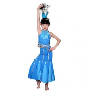 Kids chinese folk dance costumes for girls blue green color stage performance photos modern peacock dance belly dancing mermaid dresses