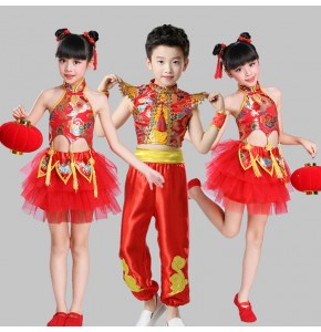 Kids Chinese folk dance costumes for  girls boys red china dragon traditional ancient drummer stage performance photos cosplay dresses