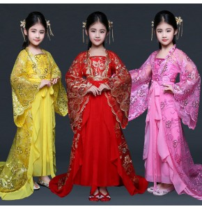 Kids chinese folk dance costumes for girls children yellow red pink princess queen tang dynasty fairy cosplay dresses robes
