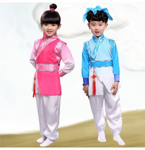 Kids chinese folk dance costumes  stage performance ancient traditional party studies three character cosplay hanfu robes