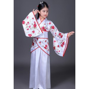 Kids chinese folk dance dresses rose flowers hanfu kimono drama cosplay photography show performance costumes for girls children