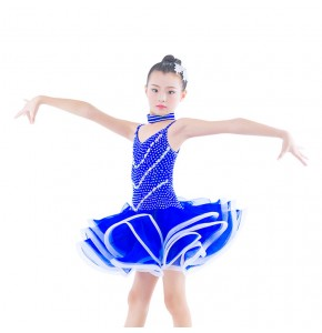 Kids competition latin dresses royal blue red purple for girls diamond stage performance professional ballroom rumba chacha dance skirts