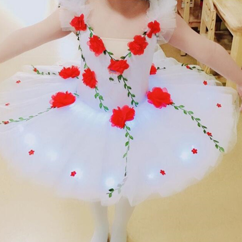 Kids flowers white swan lake ballet dance dress tutu skirt classical pancake ballet dance costumes