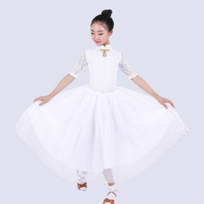 Kids girls ballroom dresses vestito da ballo delle ragazze competition stage performance salsa chacha rumba dance skirts costumes