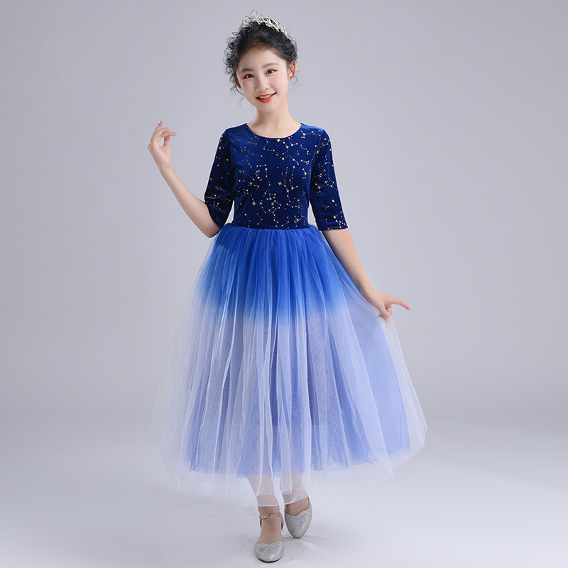 Kids girls royal blue jazz dance long dress flower girls chorus singers dress model show stage performance dress