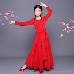 kids Hanfu chinese folk dance costumes red colored girls children kids fairy princess tang dynasty anime drama cosplay dress robes