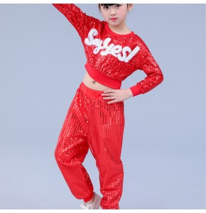 Kids hiphop dance costumes red paillette modern dance cheer leaders street jazz singers gogo dancers party stage performance tops and pants