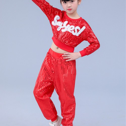 440cded1675 Kids hiphop dance costumes red paillette modern dance cheer leaders street  jazz singers gogo dancers party stage performance tops and pants