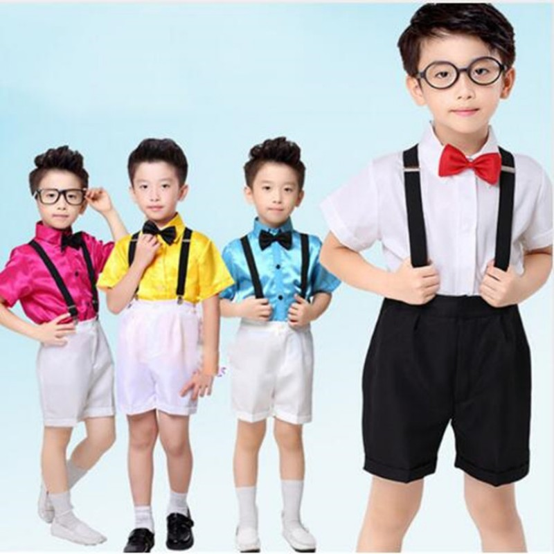 Kids Jazz Dance Costumes Boys Shirts Shorts Suit Hip Hop Dancing Clothing Children Stage Performance Dancewear Outfits