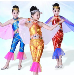 Kids jazz dance costumes fish photos cosplay dancers school competition stage performance mermaid cosplay outfits