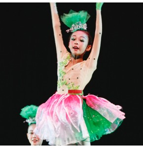 Kids jazz singers  chorus petals modern dance stage performance dresses party group school competition dancing costumes