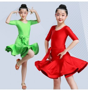 Kids latin dance dresses red green orange stage performance competition ballroom salsa chacha dance skirts dress