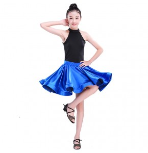 Kids latin dress for girls children royal blue black white patchwork salsa rumba chacha dance tops and skirt