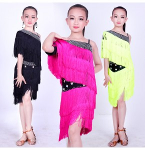 Kids latin dress for girls pink black competition diamond tassels professional stage performance show party dancing rumba chacha dancing dress