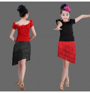 Kids latin dresses black and red fringes competition salsa chacha rumba performance tops and skirts