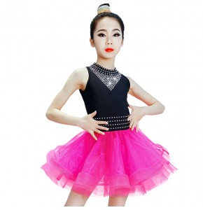 Kids latin dresses children pink black patchwork ballroom competition salsa rumba chacha diamond dresses