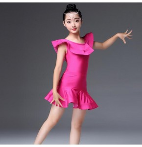Kids latin dresses competition girls green white pink stage performance professional salsa chacha rumba dance tops and skirts