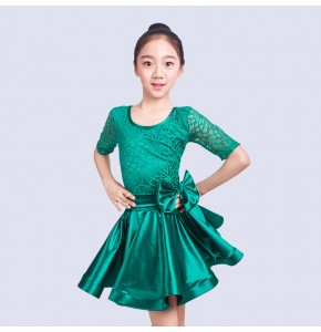 Kids latin dresses girls children stage performance competition rumba chacha salsa stretchable shiny satin lace dancing dresses
