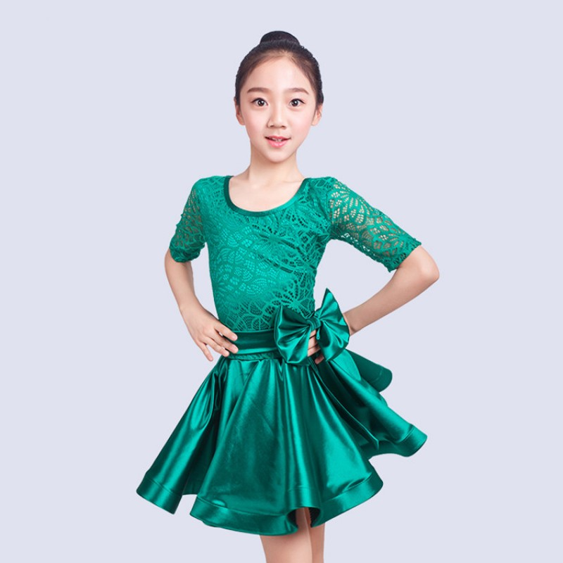 243e58b503f2 Kids latin dresses girls children stage performance competition rumba  chacha salsa stretchable shiny satin lace dancing