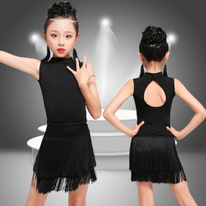 Kids latin dresses professional competition salsa chacha rumba samba dancing tops and skirts