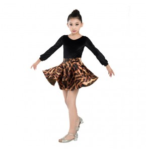 Kids latin dresses velvet with lace back leotard tops leopard skirt competition stage performance professional chacha rumba dress