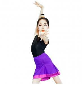 Kids latin dresses violet dark green competition stage performance salsa rumba leotard tops and skirts
