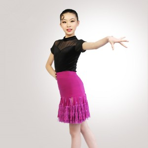 Kids latin fringes dance dresses velvet tops and purple skirt competition stage performance rumba salsa chacha dance tops and skirts