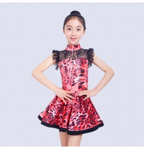 Kids leopard printed latin salsa dance dresses turquoise pink printed girls competition exercises performance lace rumba chacha dresses
