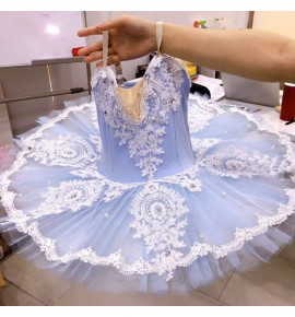 Kids light blue ballet dance dress swan lake ballerina tutu skirt professional ballet dance costumes