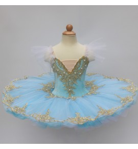 Kids light blue pink ballet dance dresses swan lake ballerina dress classical pancake tutu skirt ballet dance dresses