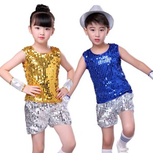 Kids modern dance hiphop jazz  dance costumes stage performance singers gogo dancers outfits