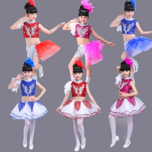 Kids modern dance hiphop street jazz dance costumes for girls pink blue red paillette school stage performance singers chorus dress outfits