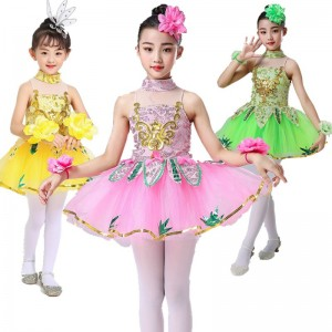 Kids modern dance princess jazz dance dress kindergarten school chorus stage performance dresses