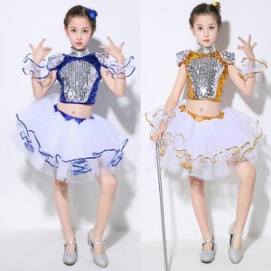 Kids modern jazz dance costumes for boys girls school show  paillette gold blue singers dancers hiphop competition outfits dresses