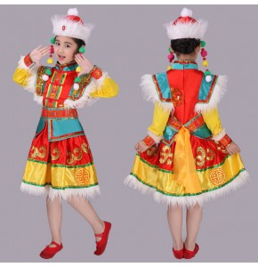 Kids Mongolian dance dresses Chinese folk dance costumes girls boys stage performance photos anime cosplay dancing robes