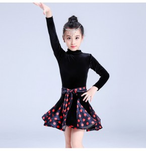 Kids polka dot latin dresses velvet black and white competition stage performance professional chacha rumba dancing costumes